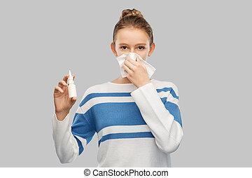 girl, soufflant nez, malade, adolescent, gouttes nez