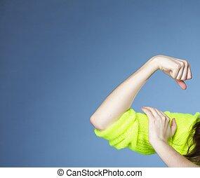 girl, spectacles, elle, muscles, force, et, puissance