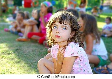 girl spectator little children looking show outdoor park...