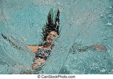 Girl Splashing into Water