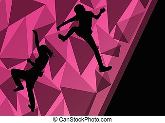 girl, sport, varappeur, enfants