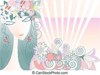 It is a stylized portrait of a girl, symbolizing spring