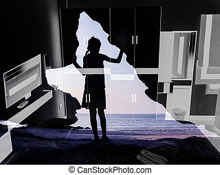 Girl standing in front of the cave with bedroom background