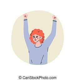 Girl Standing in Round Window with Arms Raised Vector...