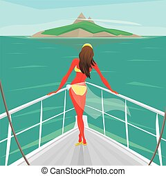 Girl standing on a yacht and admire the island