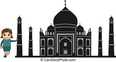 Girl Standing with Taj Mahal
