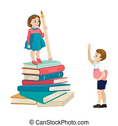 Girl stands on a stack of books, an indicator of the level of knowledge. The boy praises the student. Vector illustration