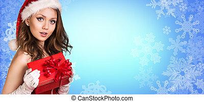 girl, stands, santa, flocons neige