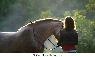 Girl stands with a horse in the middle of the forest, she...