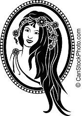 girl, stencil, noir, couronne