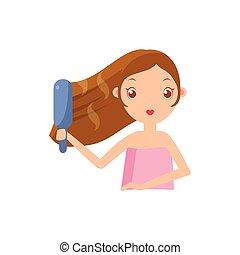 Girl Straightening The Hair