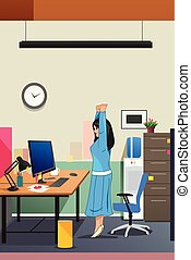 Girl Stretching in Front of the Computer Illustration