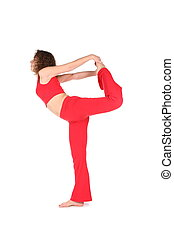 girl stretching standing on one leg