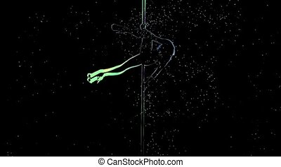 Girl stripper performing a dance on the pylon. Computer drawing