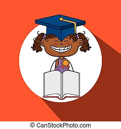girl student book cap