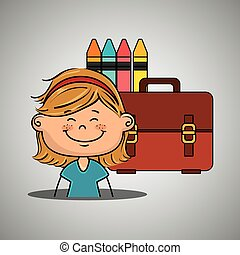 girl student colors school baggage
