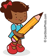 Girl student holding a big pencil. Vector illustration