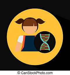 girl student laboratory dna icon