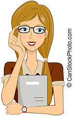 Girl Student holding Glasses with Clipping Path