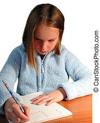 Girl student study