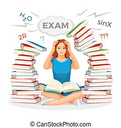 Girl student surrounded with books and prepares for exam