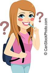 Girl Student Thinking