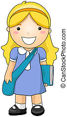 Student - Girl Student with Clipping Path