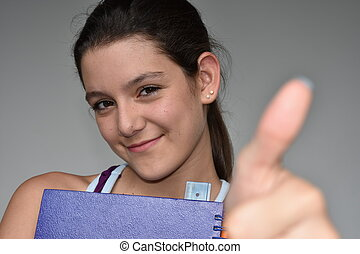 Girl Student With Thumbs Up