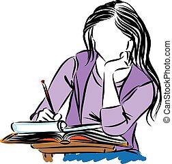 girl student writing vector illustration