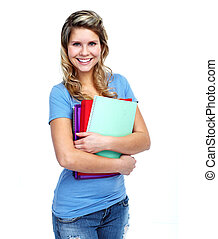 Young smiling student woman. Isolated over white background