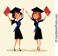 Girl students characters celebrate graduation. Vector flat...