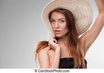 girl, studio, chapeau, poser, beau