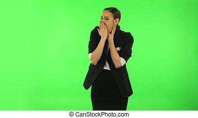 girl, studio, gorge, tête, obtenu, vert, plaie, froid, écran, toux