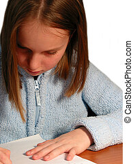 Girl study child - Young girl studying, white background