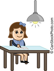 Girl Studying at Home Vector