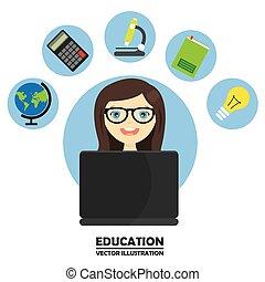 girl studying on computer