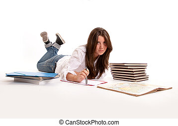 Girl studying on the floor