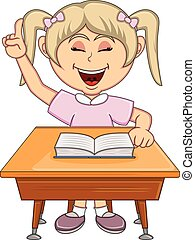 Girl studying with school table cartoon