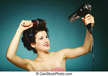girl, styling, curlers, sèche-cheveux, cheveux, sexy