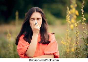 Girl Suffering from Asthma Using Her Inhaler Outdoors