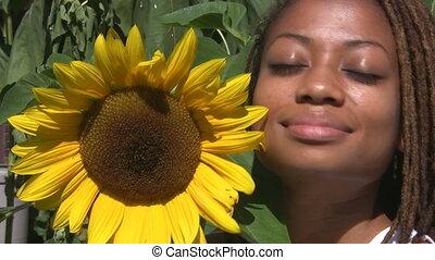 girl, sunflower.