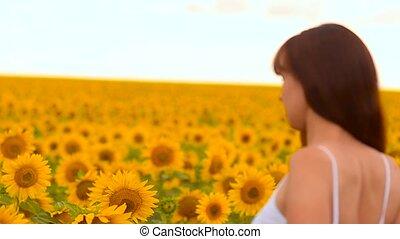 Girl sunflowers.