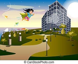 Girl Super Hero. Supergirl Standing on the Roof. Pop Art....