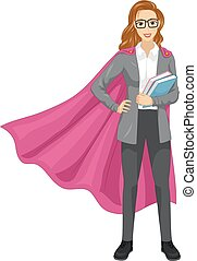 Girl Super Teacher Books Illustration