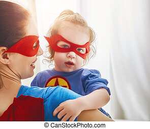 girl, superhero, déguisement, maman