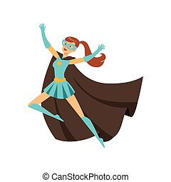 Girl superhero in classic comics costume with cape - Female...