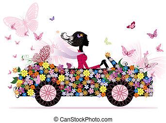 girl, sur, a, romantique, fleur, voiture