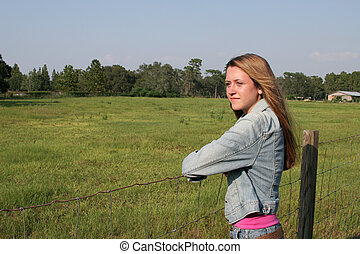 girl, sur, ranch