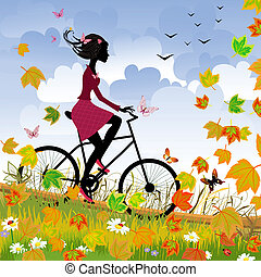 girl, sur, vélo, dehors, dans, automne