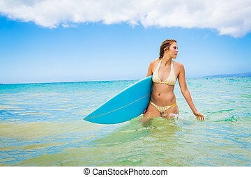 girl, surfeur